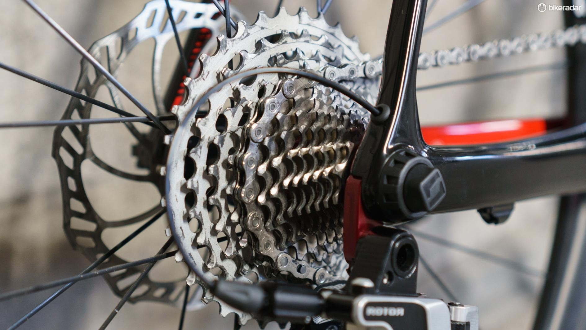 The 13-speed cassette currently requires you to use Rotor's own hubs