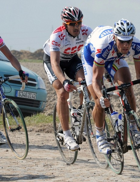 Tom Boonen leading Cancellara and Ballan