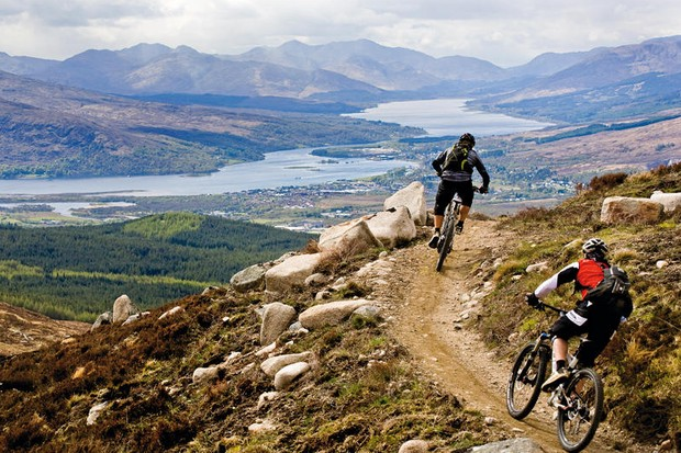 Mountain bikers riding a singletrack trail