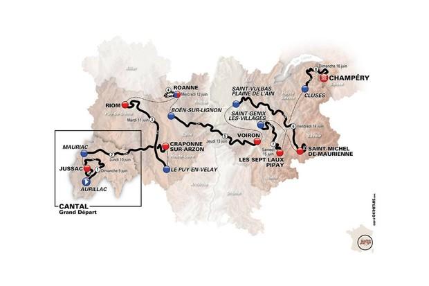 Criterium du Dauphine 2019 route map