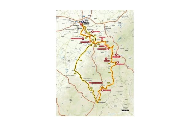 Liège–Bastogne–Liège route map