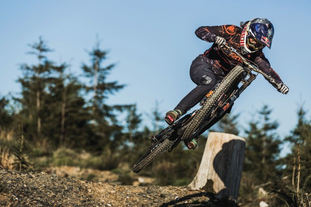 Racheal Atherton charging on her new Atherton Bikes downhill rig