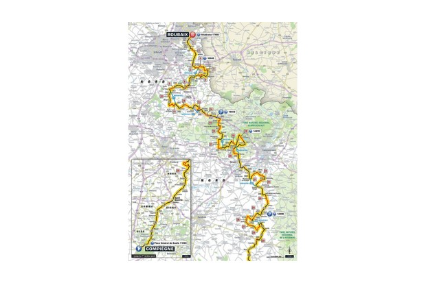 Paris–Roubaix route map