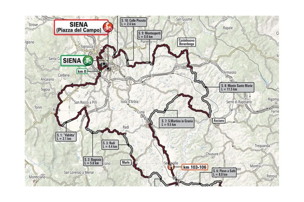 Strade Bianche route map