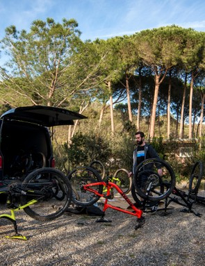 The logistical challenge of transporting the whole team and the bikes to Italy