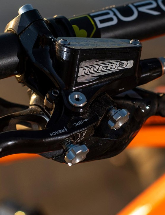 Hope's Tech 3 E4 brakes have both lever reach and pad contact adjustment