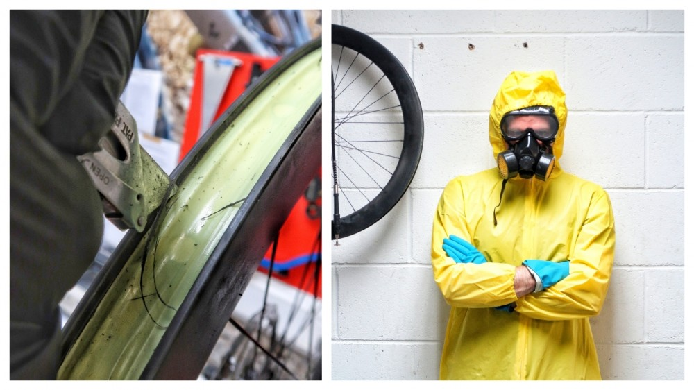 This man has butchered his carbon rims with a Stanley knife and we admire the madness