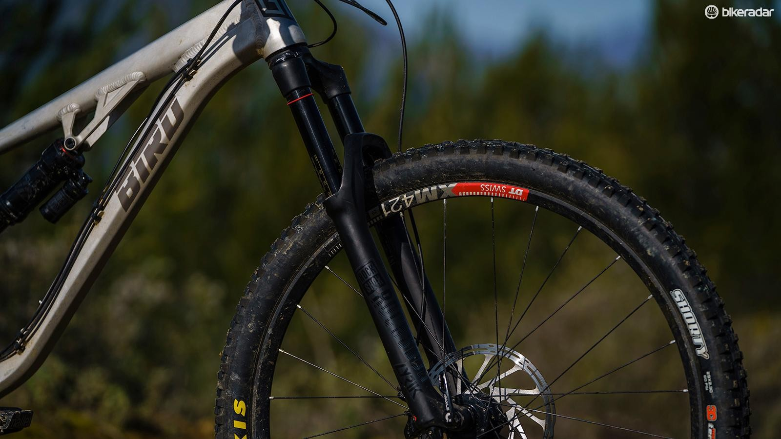 We're big fans of the RockShox Lyrik RCT3 fork. It's impressively sensitive though well-supported when it matters and tuning the end stroke is a doddle