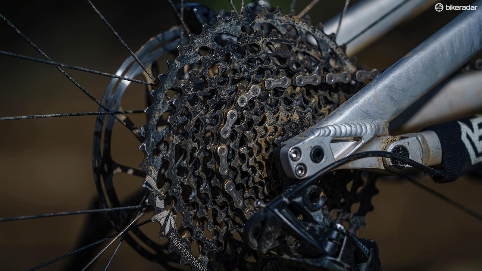 SRAM's 1x12 GX Eagle transmission delivers a massive gear range which is certainly a real plus on big days out in the hills