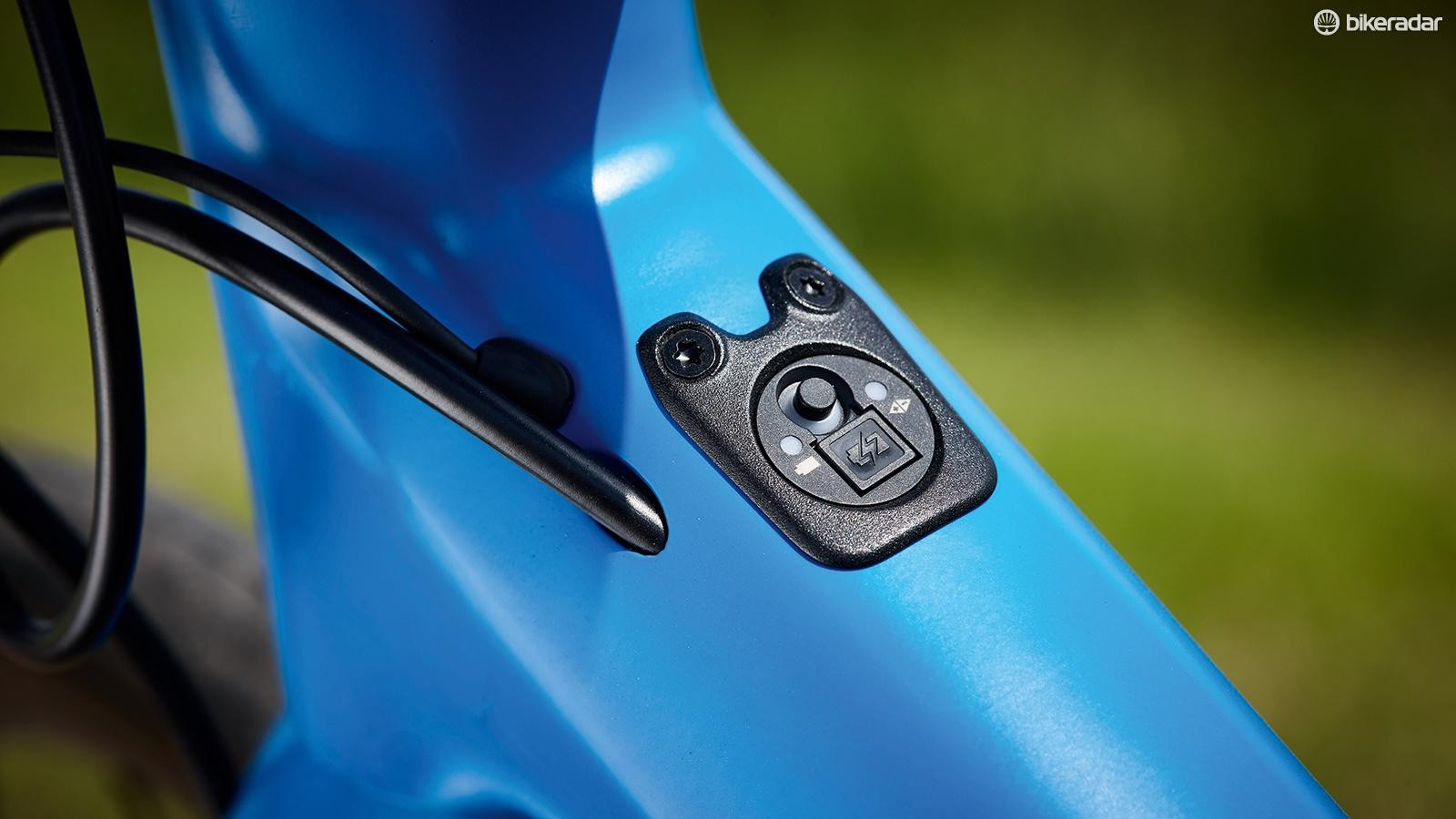 The BMC's frame has different inserts for Di2 wiring and mechanical shifting systems