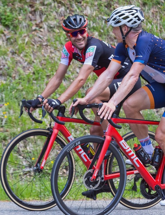 BMC's team riders, such as Amaël Moinard, will be racing the new Teammachine SLR01 rim bikes this summer. Moinard jumped on a SLR01 Disc for a quick descent down part of the Telegraphe.