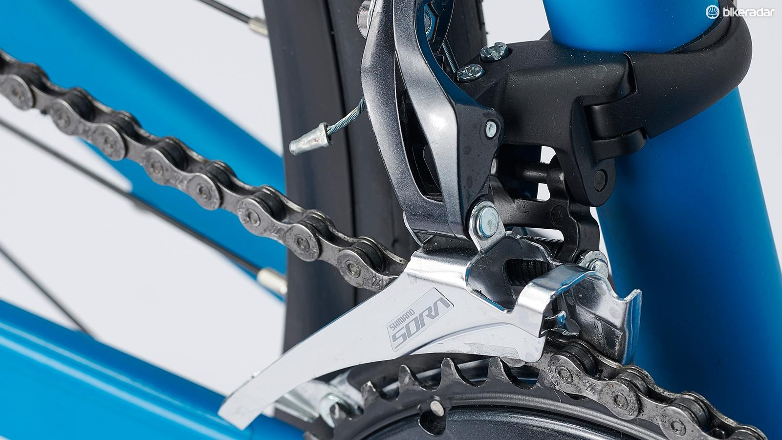 The drivetrain is mostly Shimano's Sora 9-speed