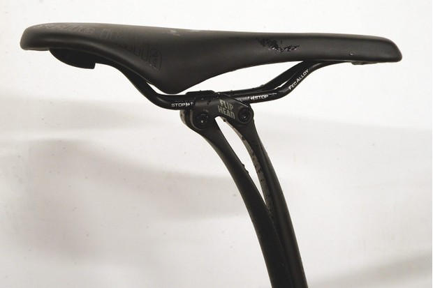 A leaf-sprung seatpost is effective at absorbing road chatter for a more comfortable ride