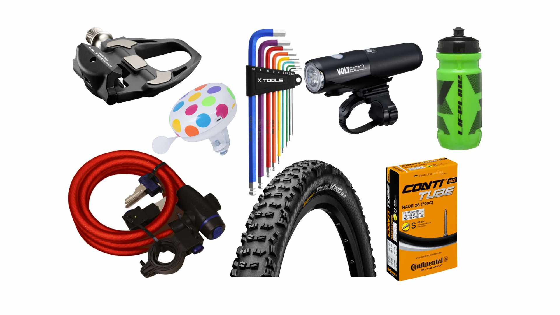 Collage of a range of cycling accessories on a white background, including a pedal, light, colourful Allen key set, bell, lock, tyre, inner tube in a box and a light