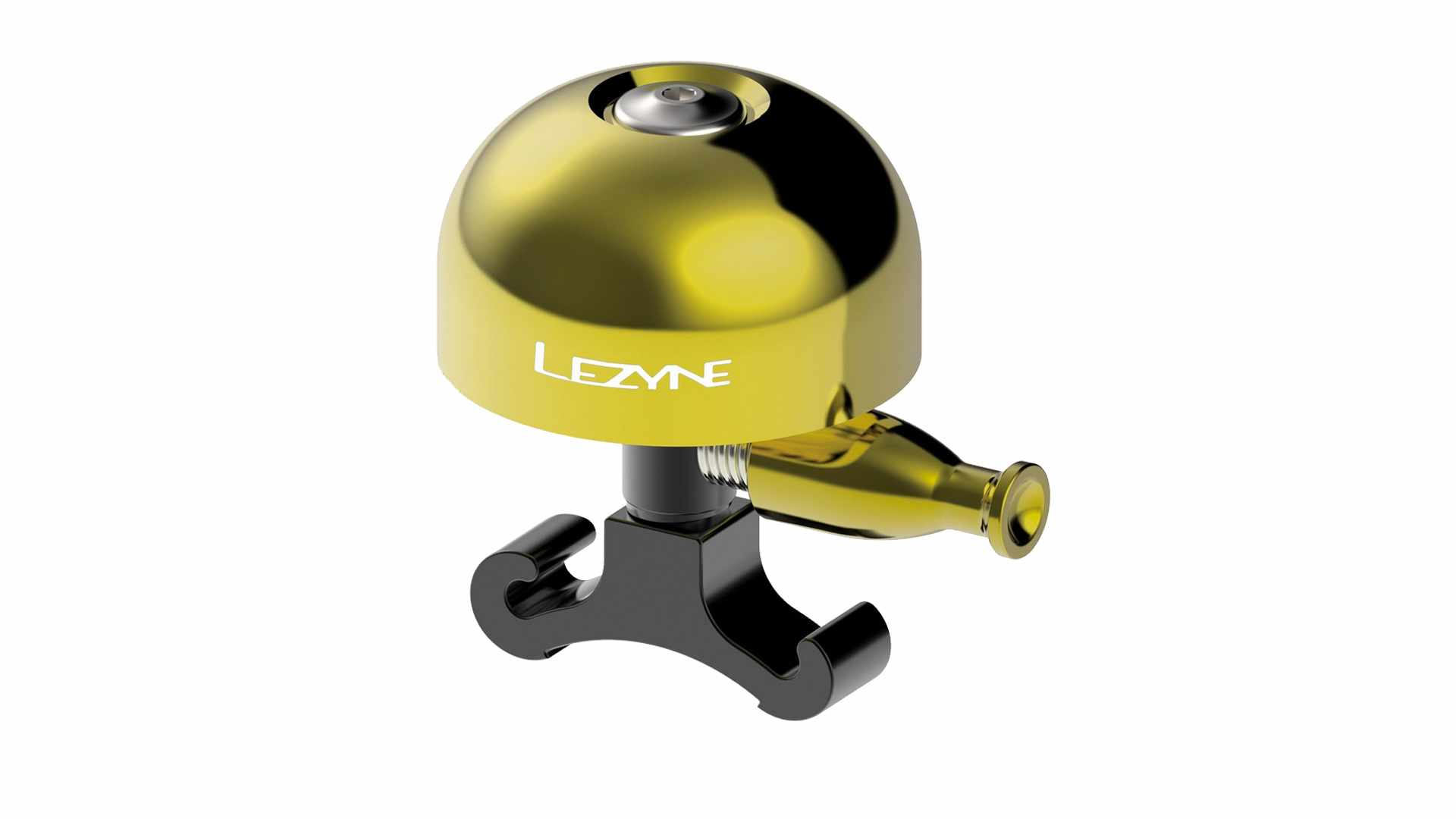 Image of a yellow Lezyne bicycle bell on a white background
