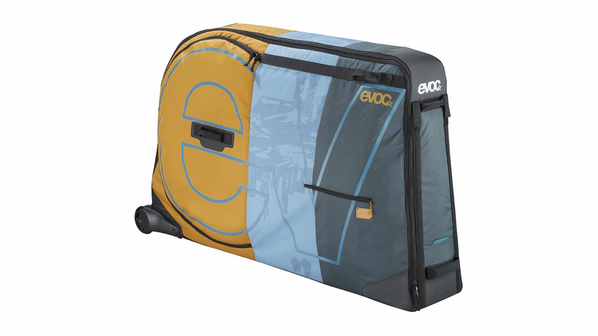 Image of a yellow, blue and grey bike travel bag on a white background