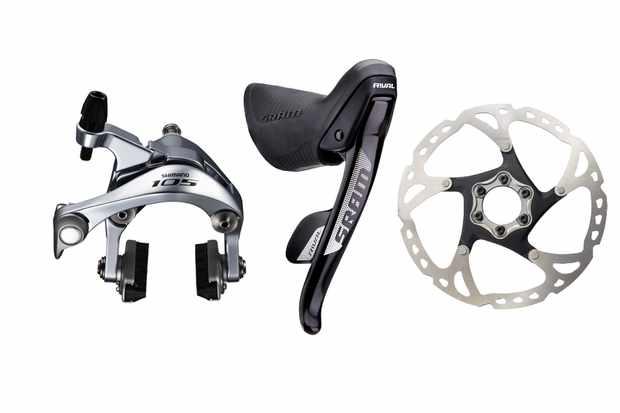 Collage image of a brake caliper, brake lever and disc brake rotor