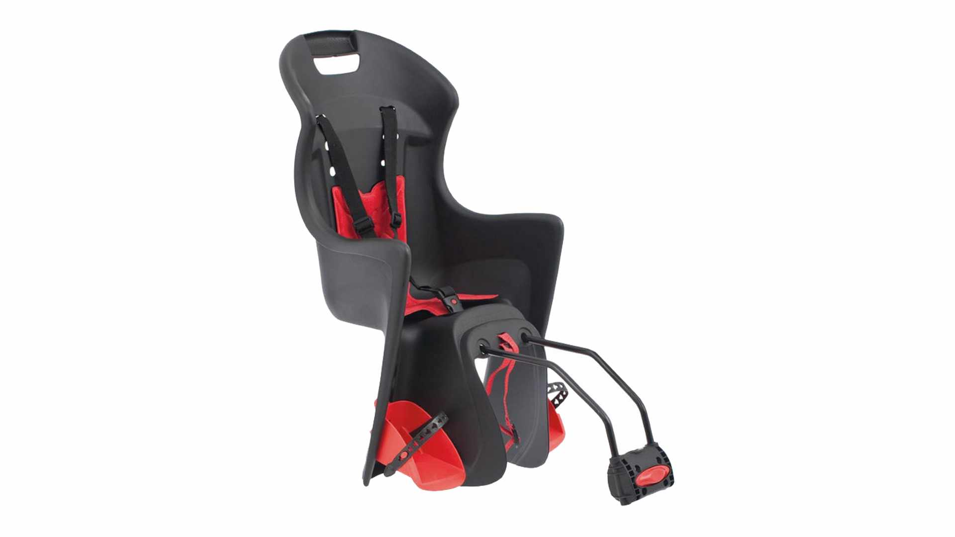 A red and black bike seat on a white background