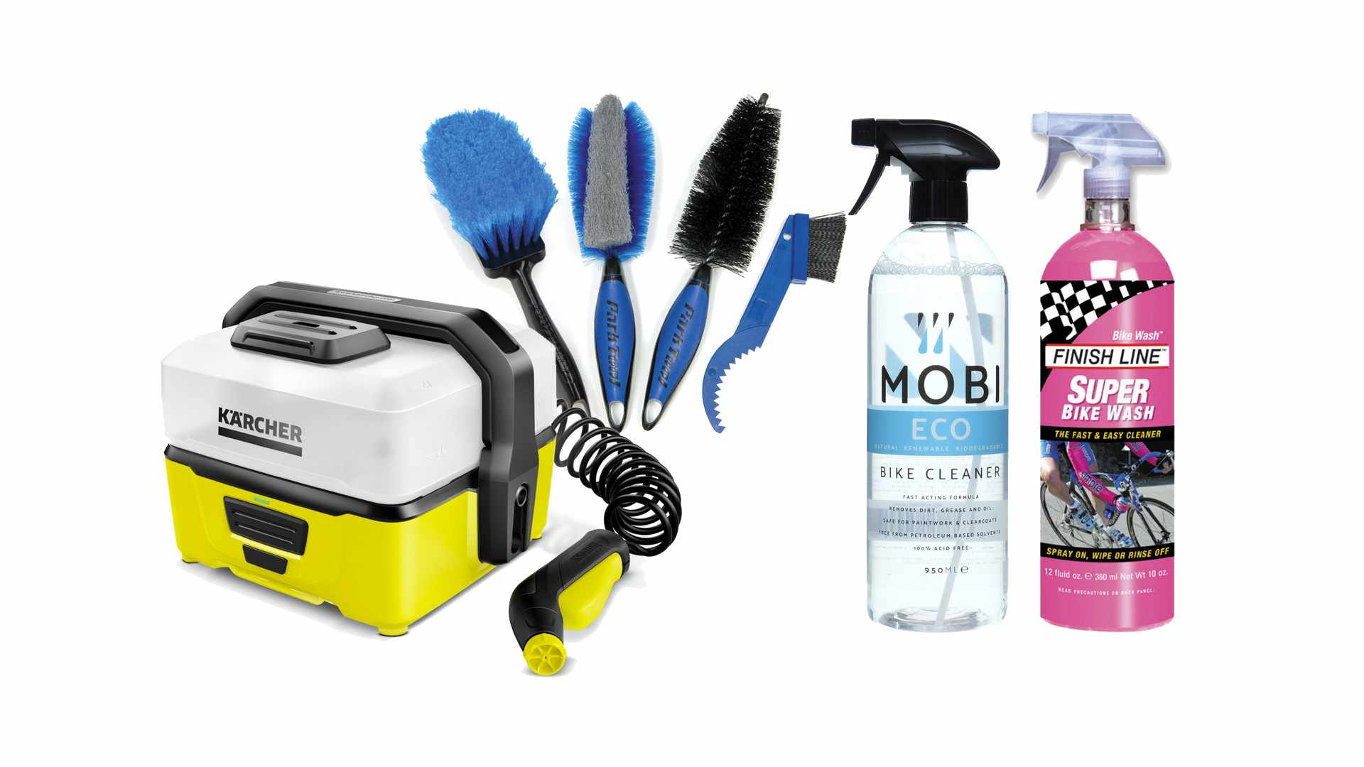 Collage image of cleaning brushes and spray, and a pressure washer, on a white background