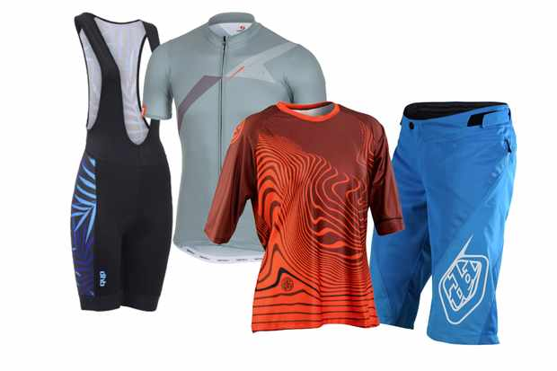 A collage of cycling clothing including blue shorts, a red loose top, a grey tight top and a pair of black bib shorts, on a white background