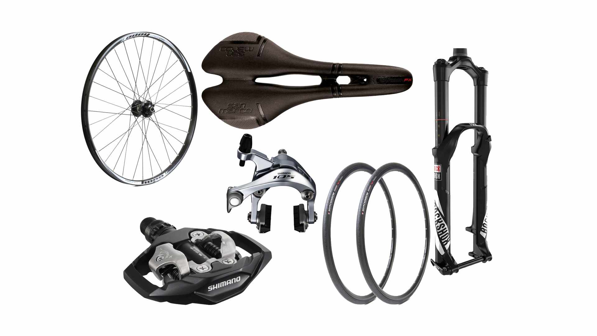 Collage of a bike wheel, saddle, pedal, tyres, suspension fork and silver brake callipers