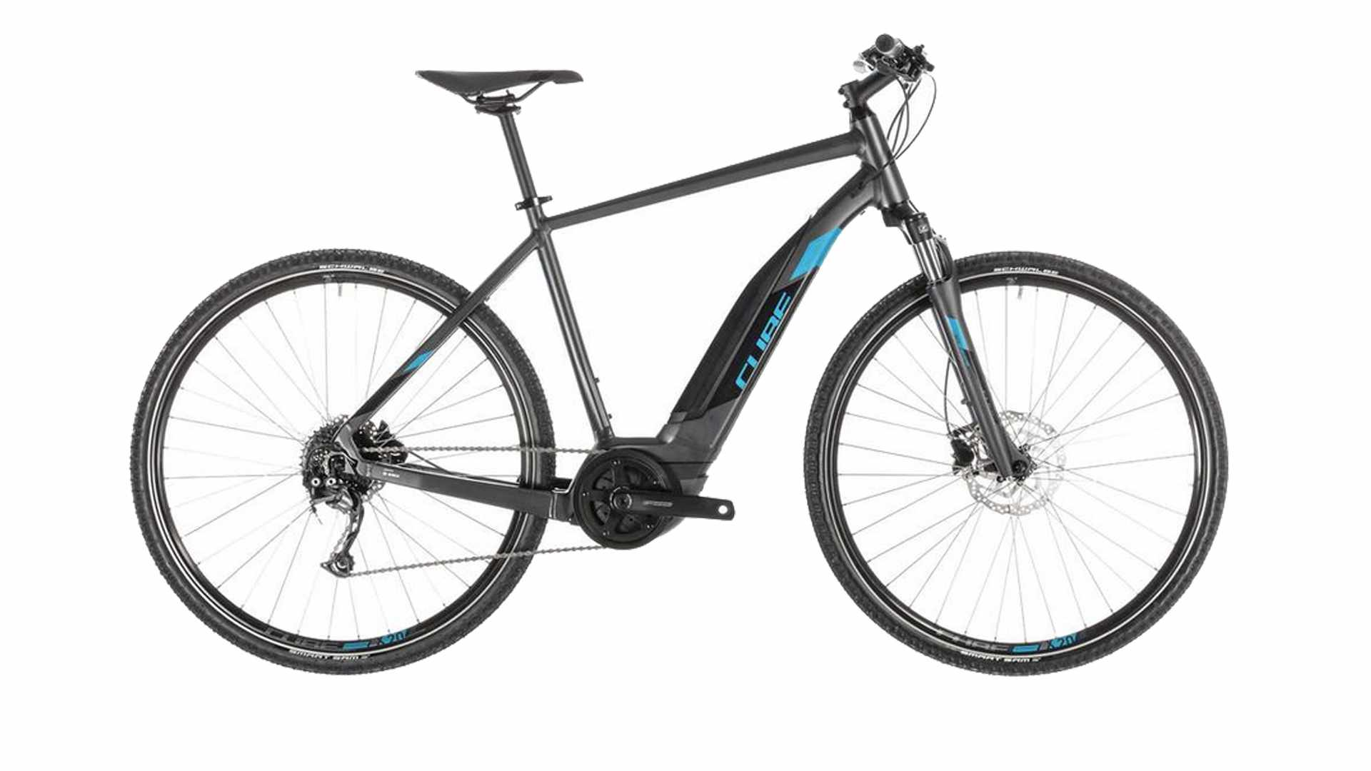 A black and blue electric bike on a white background