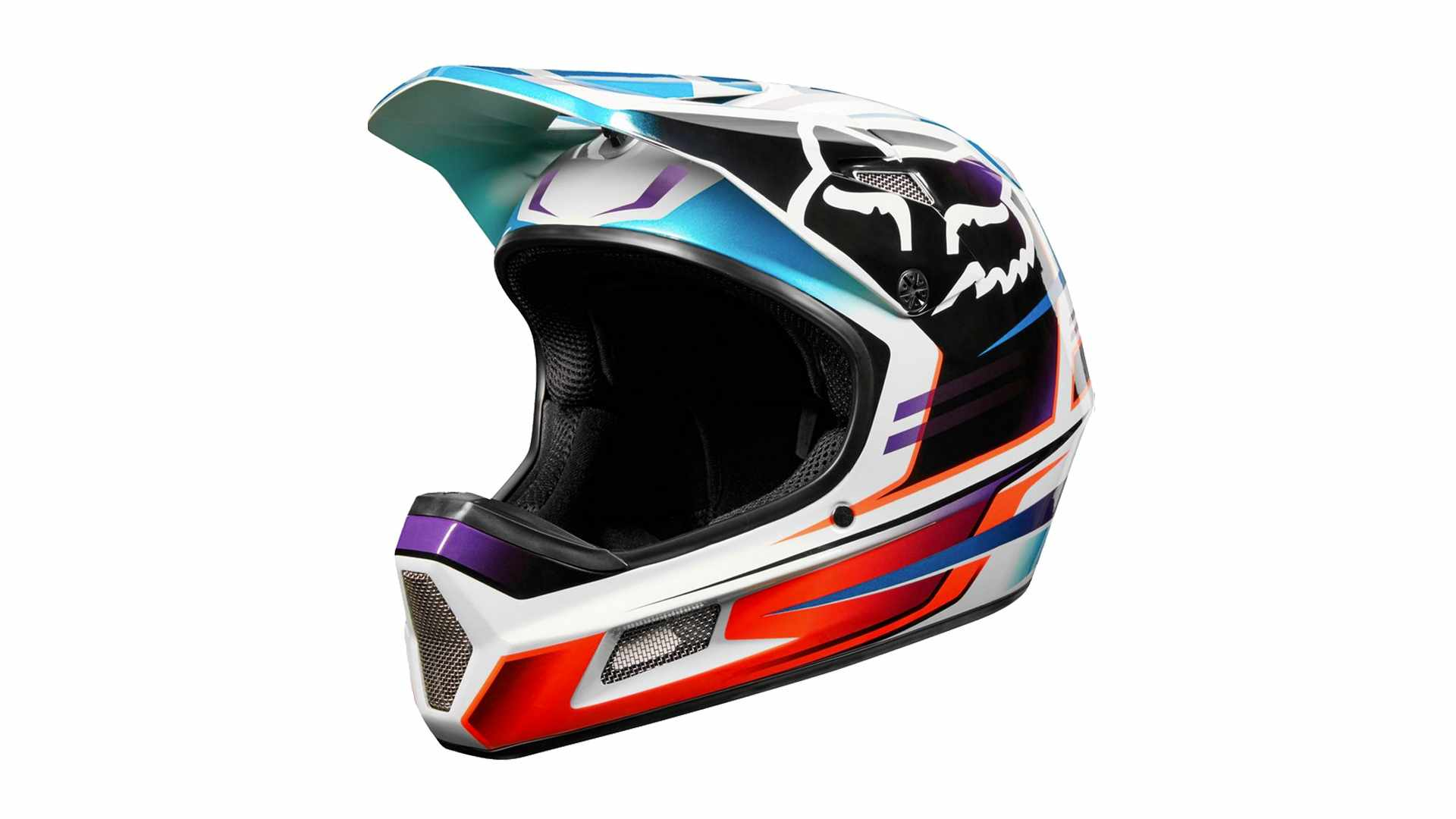 A colourfull full-face mountain bike helmet on a white background
