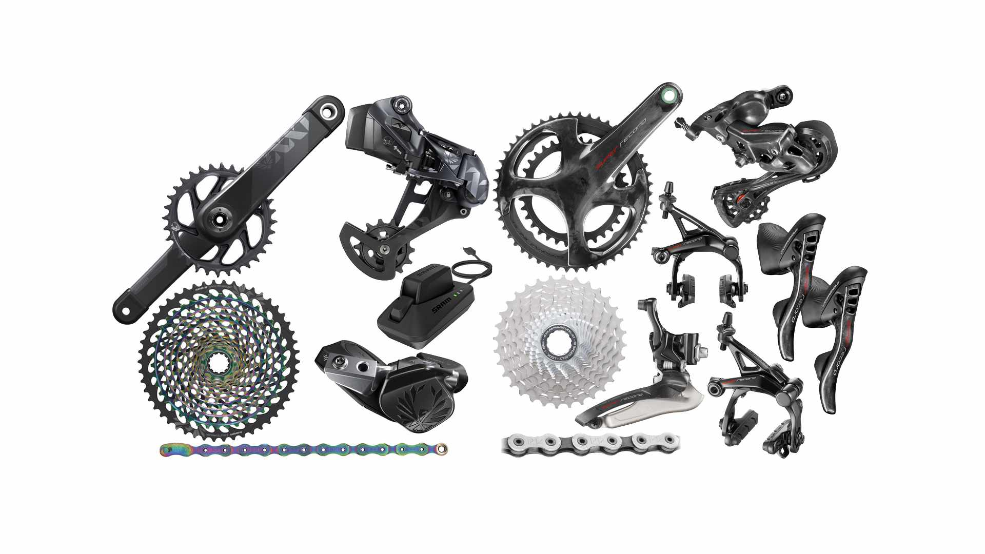 Collage of black and silver bicycle groupset parts on a white background