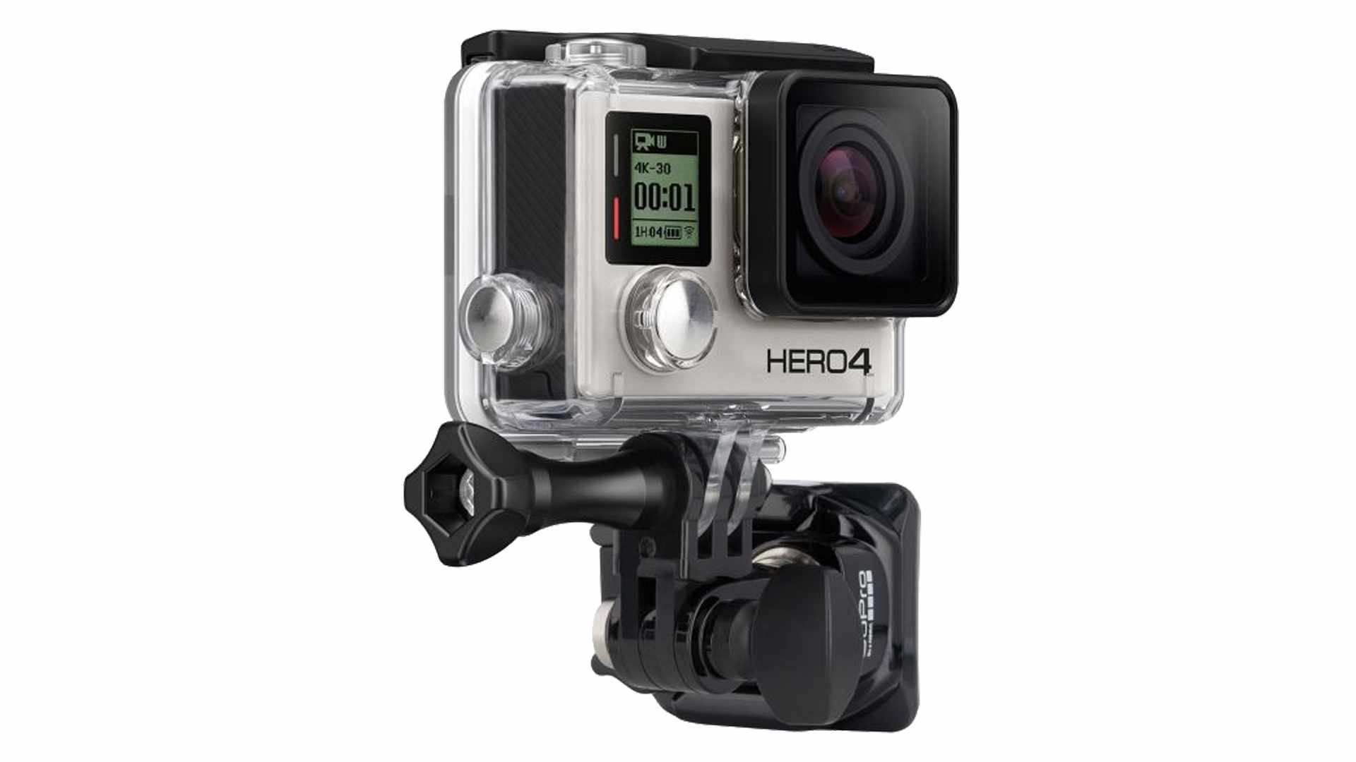 Photo of a GoPro camera on a helmet mount, on a white background