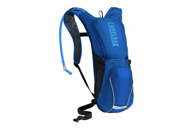 a blue hydration rucksack on a white background