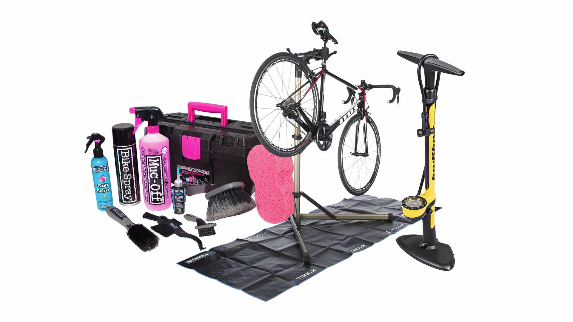 Collage of photographs of a bike in a work stand, a Muc-Off cleaning bundle and a yellow track pump
