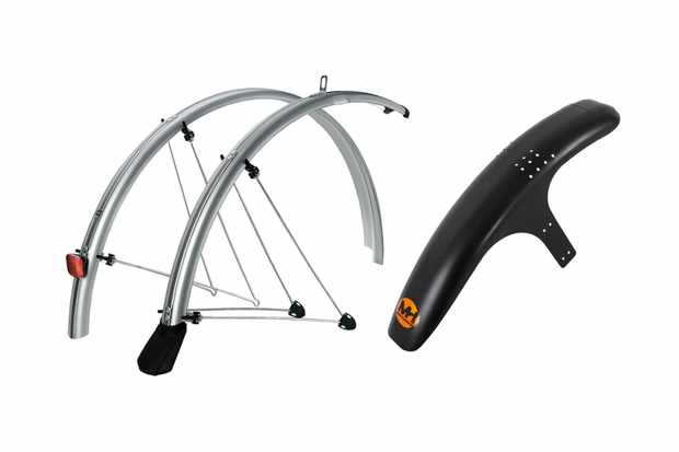 A set of silver road bike mudguards and a black front wheel mountain bike mudguard