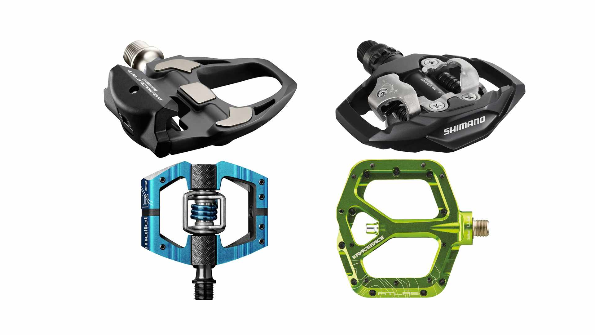 Collage of 4 bicycle pedals