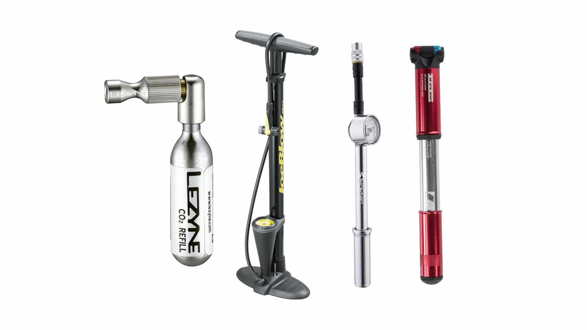 A collage of a track pump, two mini pumps and a CO2 inflator on a white background