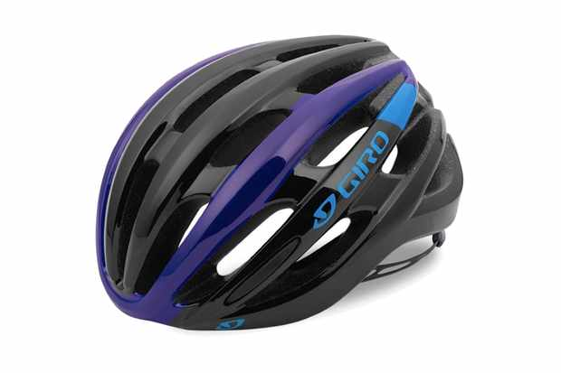 Image of black, purple and blue road cycling helmet on a white background