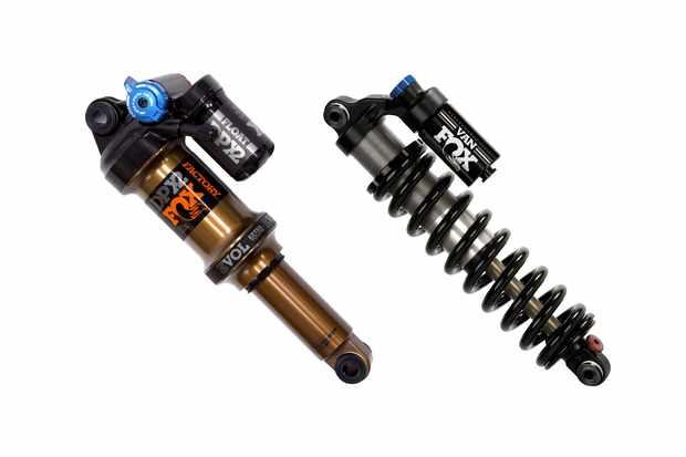 Two mountain bike rear suspension shocks