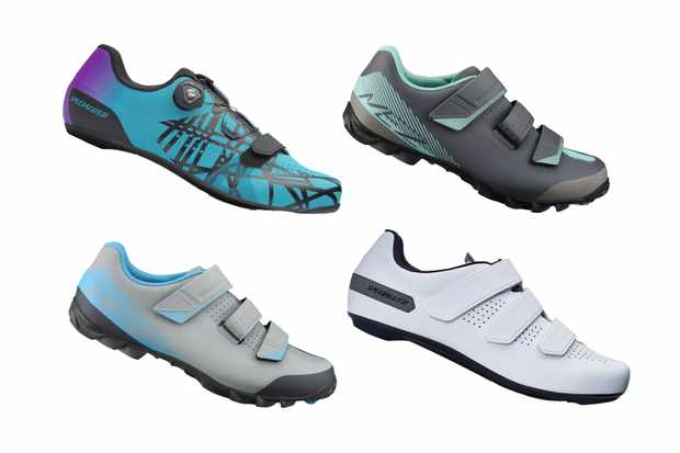 Image of 4 different types of cycling shoes on a white background