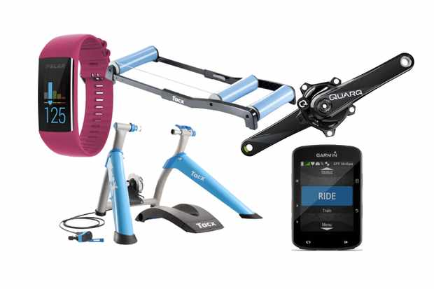 Collage of images of a turbo trainer, gps bike computer, smart watch, power meter and roller on a white background