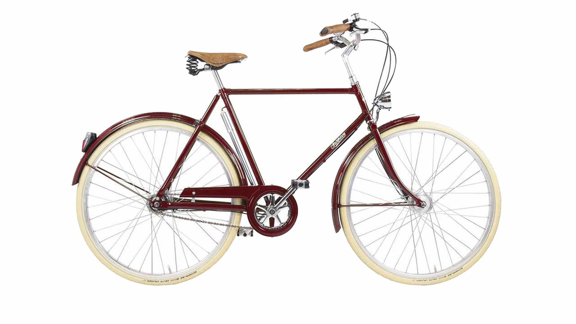Maroon bicycle with beige wheels on a white background
