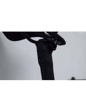 Specialized have located the Di2 charging and adjustment port in the seat post