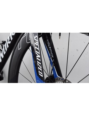 Quick-Step Floors' colours, Specialized's decals and #TheWolfpack adorn the fork legs on the Venge