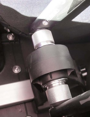 The fork mounts into a fully adjustable frame, with fittings for pretty much every axle standard