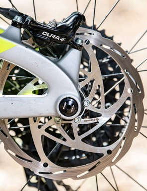 The caliper has been redesigned, with four 18mm diameter pistons delivering the bite