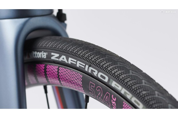 Close-up detail of the Vittoria Zaffiro tyres