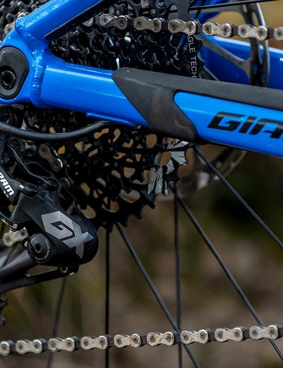 SRAM's GX Eagle drivetrain is a common sight at this price point
