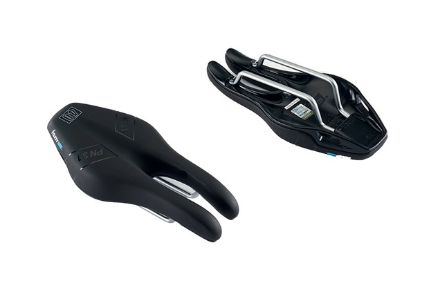 Image of the top side and underside of a bike saddle on a white background