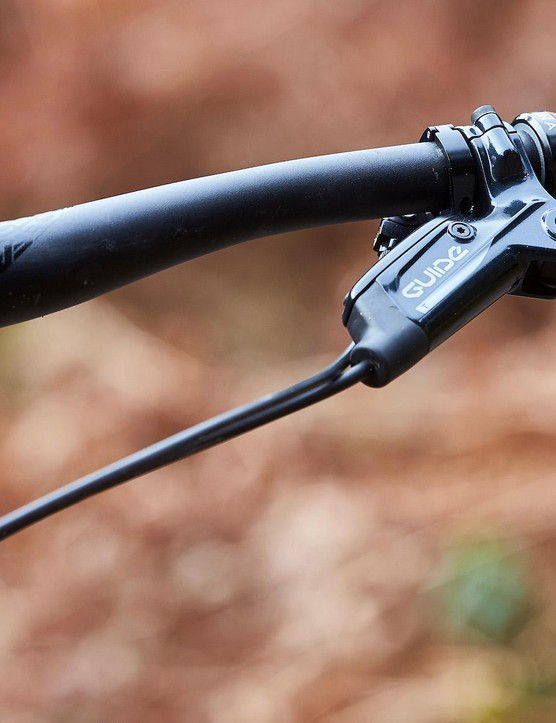 Close-up photograph of black handlebars on the Juliana Furtardo mountain bike