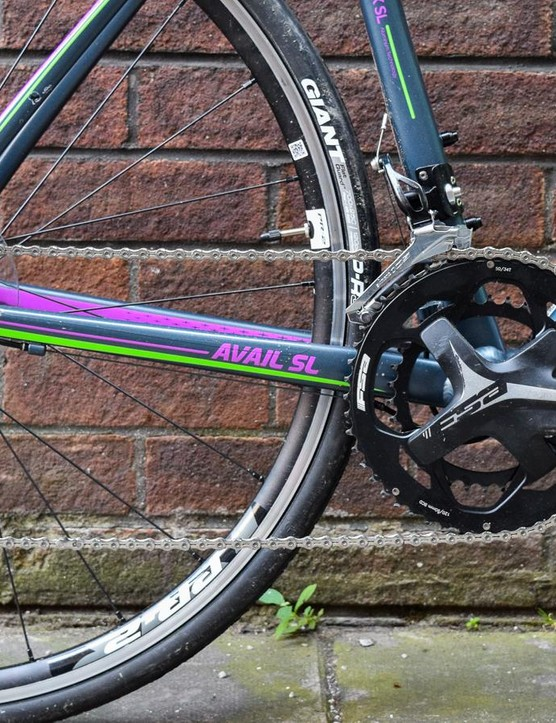 The Shimano 105 gearing provides ample range for climbing and sprinting