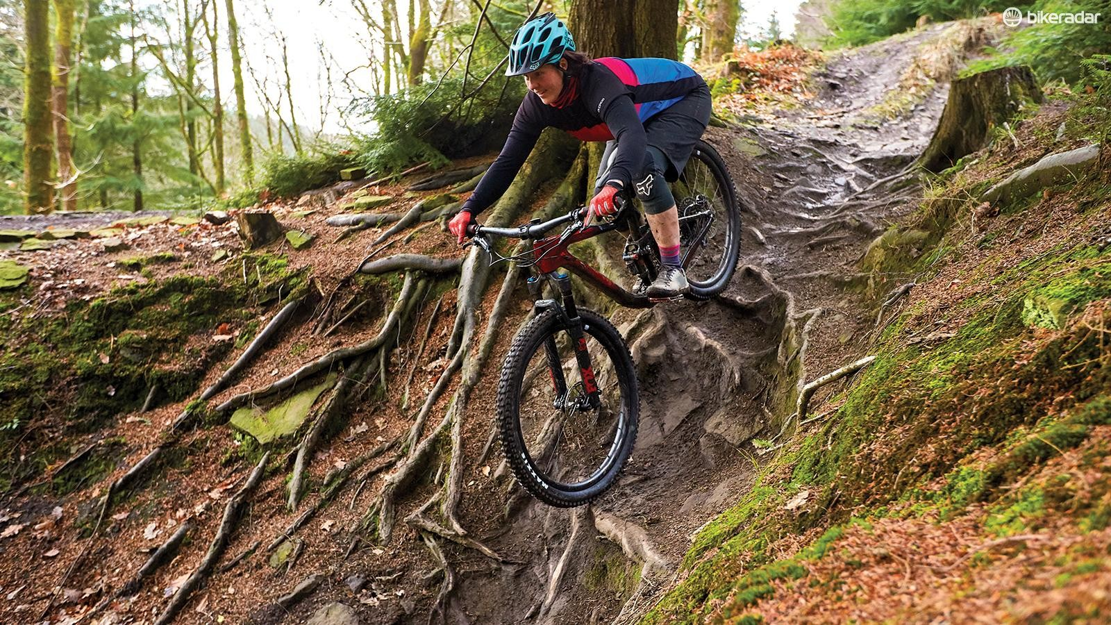 Liv has placed the rider in an aggressive yet comfortable position, which encourages experimentation with bigger, badder trail features