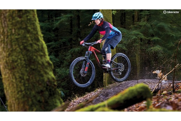 Liv/Giant's Maestro suspension system is progressive enough to handle heavy landings unfazed